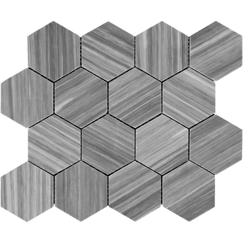 Bardiglio Scuro Marble 3x3 Hexagon Polished Mosaic Tile - TILE AND MOSAIC DEPOT