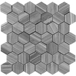 Bardiglio Scuro Marble 2x2 Hexagon Polished Mosaic Tile - TILE AND MOSAIC DEPOT