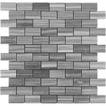 Bardiglio Scuro Marble 1x2 Polished Mosaic Tile - TILE AND MOSAIC DEPOT