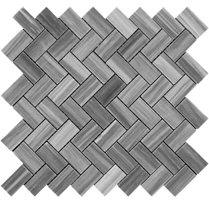 Bardiglio Scuro Marble 1x2 Herringbone Polished Mosaic Tile - TILE AND MOSAIC DEPOT