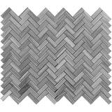 Bardiglio Scuro Marble 1x3 Herringbone Polished Mosaic Tile - TILE AND MOSAIC DEPOT