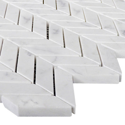 White Carrara Marble Mini Chevron Honed Mosaic Tile - TILE AND MOSAIC DEPOT
