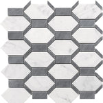 Bardiglio Carrara Marble Geo Special Design Mosaic Tile - TILE AND MOSAIC DEPOT