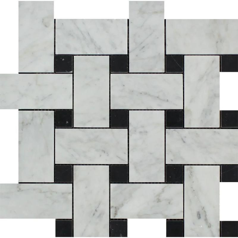 White Carrara Marble Large Basketweave with Black Dots Polished Mosaic Tile - TILE AND MOSAIC DEPOT