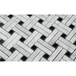 White Carrara Marble Stanza Black Dot Polished Mosaic Tile - TILE AND MOSAIC DEPOT
