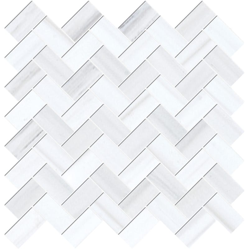 Dolomite Pearl Marble 1x2 Herringbone Polished Mosaic Tile - TILE AND MOSAIC DEPOT