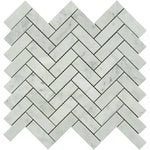 White Carrara Marble 1x3 Herringbone Polished Mosaic Tile - TILE AND MOSAIC DEPOT