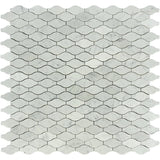 White Carrara Marble Leaves Design Polished Mosaic Tile - TILE AND MOSAIC DEPOT