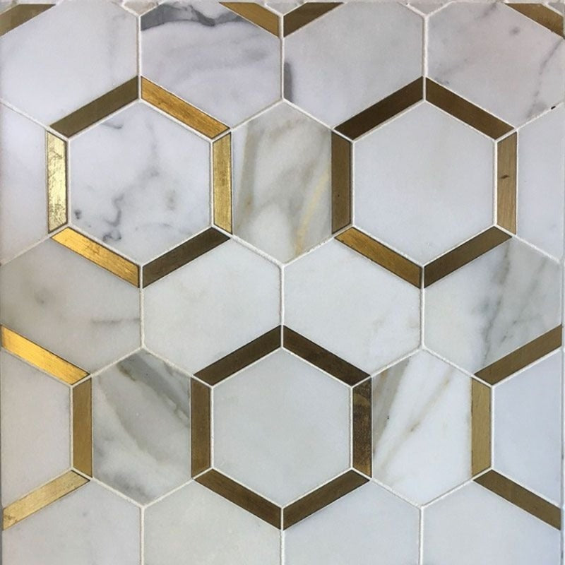 Calacatta Gold Marble Brass Hexagon Polished Mosaic Tile - TILE AND MOSAIC DEPOT