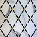 Sample Calacatta Gold Nero Marquina Marble Brass Polished Mosaic Tile - TILE AND MOSAIC DEPOT