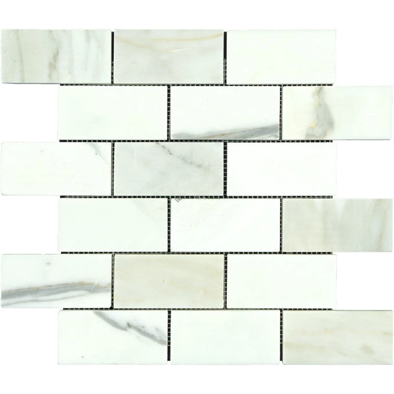 Calacatta Gold Marble 2x4 Honed Mosaic Tile - TILE AND MOSAIC DEPOT