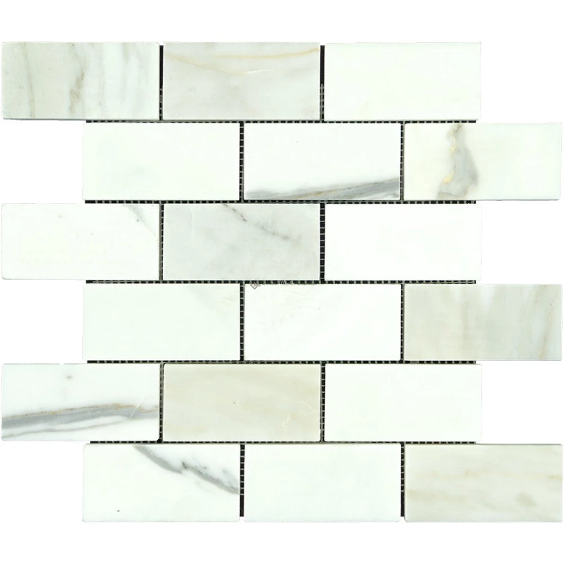 Calacatta Gold Marble 2x4 Polished Mosaic Tile - TILE AND MOSAIC DEPOT