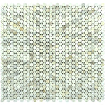 Calacatta Gold Marble Penny Round Polished Mosaic Tile - TILE AND MOSAIC DEPOT