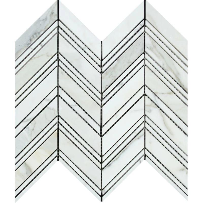 Calacatta Gold Marble Chevron Polished Mosaic Tile - TILE AND MOSAIC DEPOT