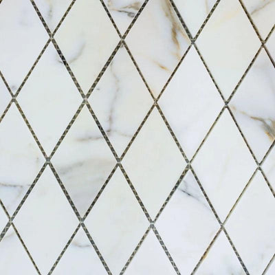 Calacatta Gold Marble Honed 1x2 Diamond Mosaic Tile - TILE AND MOSAIC DEPOT
