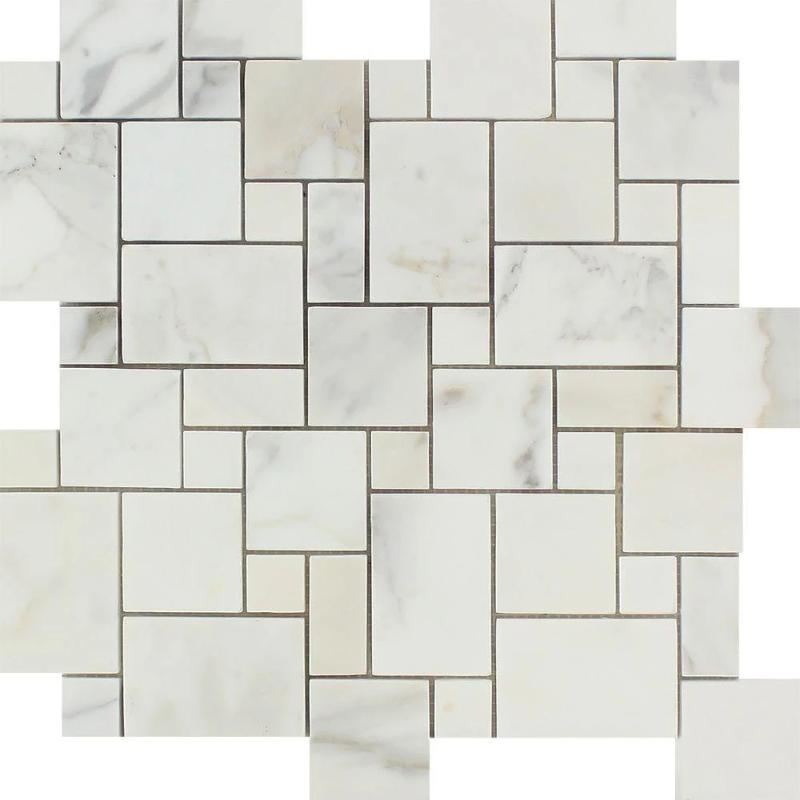 Calacatta Gold Marble Mini Versailles Pattern Polished Mosaic Tile - TILE AND MOSAIC DEPOT