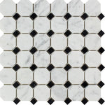 White Carrara Marble Octagon with Black Dots Polished Mosaic Tile - TILE AND MOSAIC DEPOT