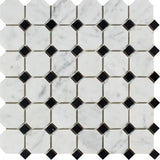 White Carrara Marble Octagon with Black Dots Honed Mosaic Tile - TILE AND MOSAIC DEPOT