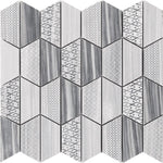 Bardiglio Marble Carved Hexagon Special Design Mosaic Tile - TILE AND MOSAIC DEPOT