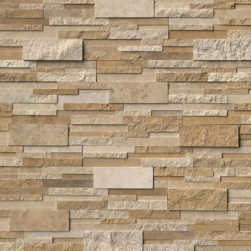 Ivory & Noce Travertine Multi Blend 6x24 Stacked Stone Ledger Panel - TILE AND MOSAIC DEPOT