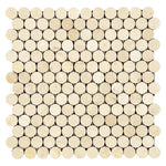 Crema Marfil Marble Penny Round Polished Mosaic Tile - TILE AND MOSAIC DEPOT