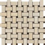 Crema Marfil Marble Basketweave w/ Emp Dots Polished Mosaic Tile - TILE AND MOSAIC DEPOT
