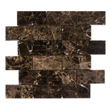 Emperador Dark Spanish Marble 2x4 Polished Mosaic Tile - TILE AND MOSAIC DEPOT