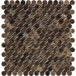Emperador Dark Spanish Marble Penny Round Polished Mosaic Tile - TILE AND MOSAIC DEPOT
