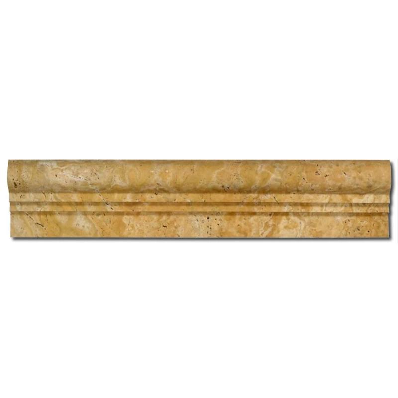 Gold Travertine 2.5x12 ( 2Step) Ogee Liner - TILE AND MOSAIC DEPOT