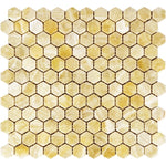 Honey Onyx 1x1 Hexagon Polished Mosaic Tile - TILE AND MOSAIC DEPOT