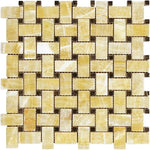 Honey Onyx Basketweave w/ Black Dots Polished Mosaic Tile - TILE AND MOSAIC DEPOT