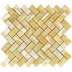 Honey Onyx 1x2 Herringbone Polished Mosaic Tile - TILE AND MOSAIC DEPOT