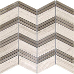Haisa Light (White Oak) Marble Chevron Honed Mosaic Tile - TILE AND MOSAIC DEPOT