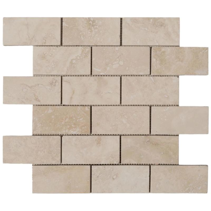 Ivory Travertine 2x4 Filled and Honed Mosaic Tile - TILE AND MOSAIC DEPOT