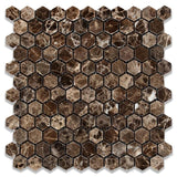 Emperador Dark Spanish Marble 1x1 Hexagon Polished Mosaic Tile - TILE AND MOSAIC DEPOT