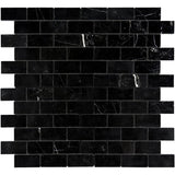 Nero Marquina Marble 2x4 Polished Mosaic Tile - TILE AND MOSAIC DEPOT