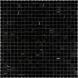 Nero Marquina Marble 1x1 Polished Mosaic Tile - TILE AND MOSAIC DEPOT