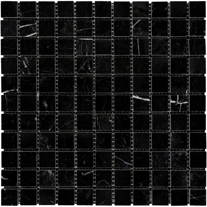 Nero Marquina Marble 1x1 Honed Mosaic Tile - TILE AND MOSAIC DEPOT