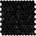 Nero Marquina Marble 2x2 Hexagon Polished Mosaic Tile - TILE AND MOSAIC DEPOT