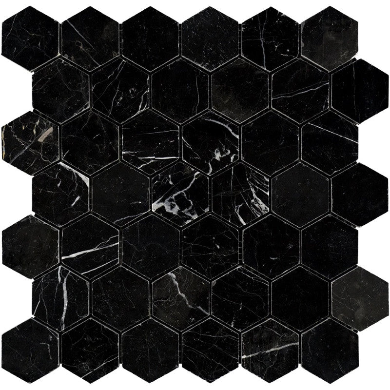 Nero Marquina Marble 2x2 Hexagon Honed Mosaic Tile - TILE AND MOSAIC DEPOT