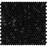 Nero Marquina Marble 1x1 Hexagon Polished Mosaic Tile - TILE AND MOSAIC DEPOT