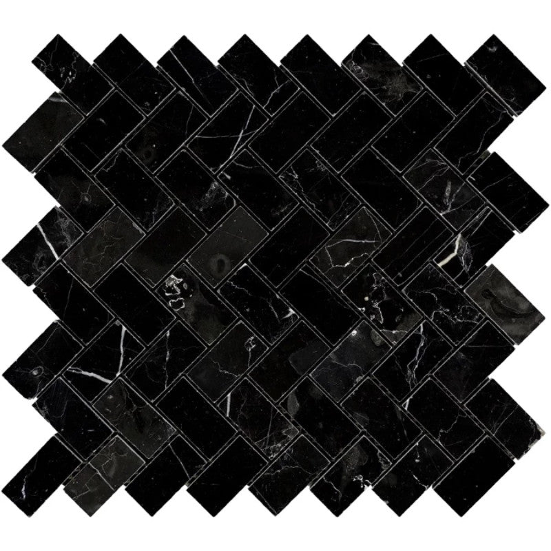 Nero Marquina Marble 1x2 Herringbone Polished Mosaic Tile - TILE AND MOSAIC DEPOT