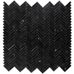 Nero Marquina Marble 1x4 Herringbone Polished Mosaic Tile - TILE AND MOSAIC DEPOT