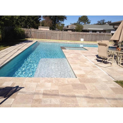 Noce Travertine Paver 3cm Tumbled Versailles Pattern - TILE AND MOSAIC DEPOT