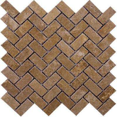Noce Travertine 1x2 Herringbone Tumbled Mosaic Tile - TILE AND MOSAIC DEPOT