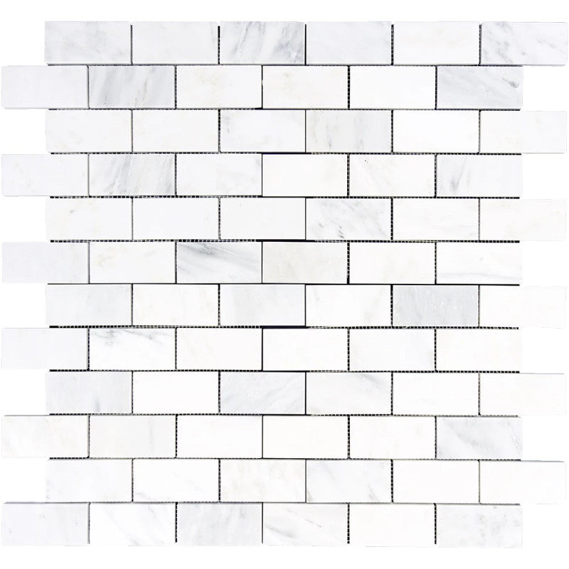 Asian Statuary (Oriental White) Marble 2x4 Polished Mosaic Tile - TILE AND MOSAIC DEPOT