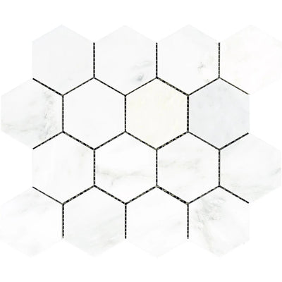 Asian Statuary (Oriental White) Marble 3x3 Hexagon Honed Mosaic Tile - TILE AND MOSAIC DEPOT