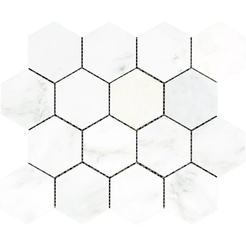 Asian Statuary (Oriental White) Marble 3x3 Hexagon Polished Mosaic Tile - TILE AND MOSAIC DEPOT