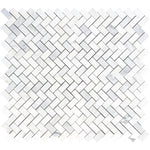 Asian Statuary (Oriental White) Marble 1x2 Herringbone Honed Mosaic Tile - TILE AND MOSAIC DEPOT