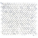 Asian Statuary (Oriental White) Marble 1x2 Herringbone Polished Mosaic Tile - TILE AND MOSAIC DEPOT
